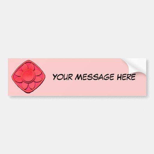 Red Flower Design Car Bumper Sticker