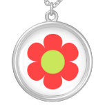 Red flower design personalized necklace