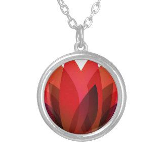 Red Flower Design Round Pendant Necklace