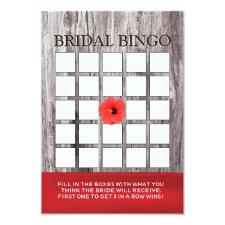Red Flower & Driftwood Bridal Shower Bingo Cards