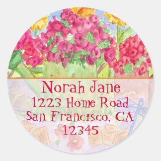 Red Flower Garden Address Sticker Watering Can Art