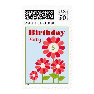 Red Flower Garden Birthday Party Postage