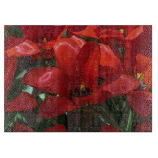 Red Flower glass Cutting Board