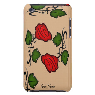 Red Flower Green Leaves iPod Touch Case