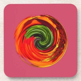 Red flower in a twirl drink coaster