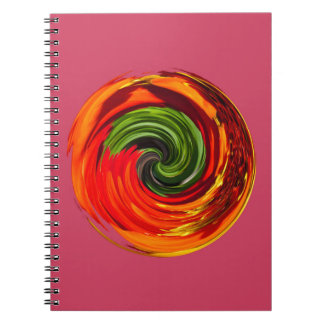 Red flower in a twirl spiral notebooks