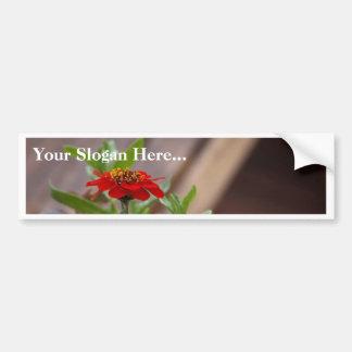 Red Flower In Town Car Bumper Sticker