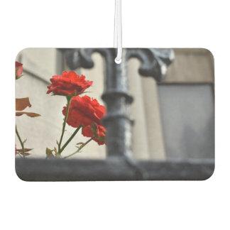 Red Flower Iron Gate New York City Photography NYC Air Freshener