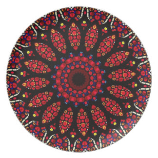 Red Flower Kaleidoscope Pattern Melamine Plate