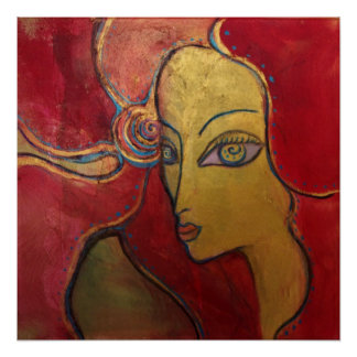 Red Flower Lady Gold Portrait Art Deco Rockabilly Poster