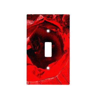 Red Flower Light Switch Cover