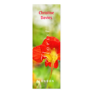 Red flower macro photograhy, florist business card