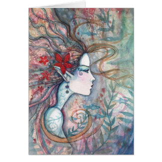 Red Flower Mermaid Card by Molly Harrison