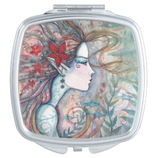 Red Flower Mermaid Fantasy Art Makeup Mirror