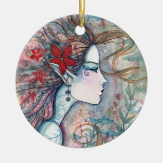 Red Flower Mermaid Ornament