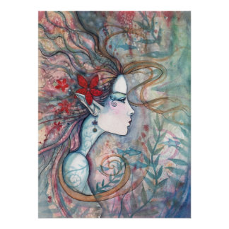 Red Flower Mermaid Poster by Molly Harrison