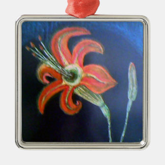 Red Flower Metal Ornament