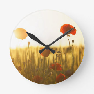 Red Flower Near White Flower during Daytime Round Clock