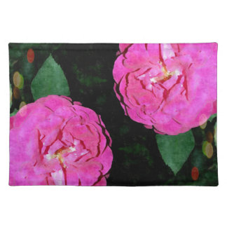 red flower night and stars cloth placemat