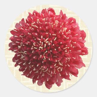 Red Flower on Beige Classic Round Sticker