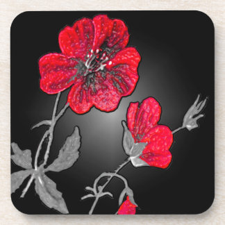 Red Flower on Black and Grey Background Drink Coaster