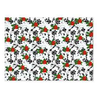 Red Flower on Black Scroll Art Card