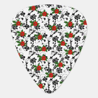 Red Flower on Black Scroll Art Guitar Pick