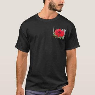 red flower on black T-Shirt
