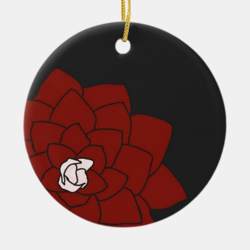 Red Flower on Dark Charcoal Ornament