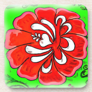Red Flower on Green Background in Oil Drink Coaster