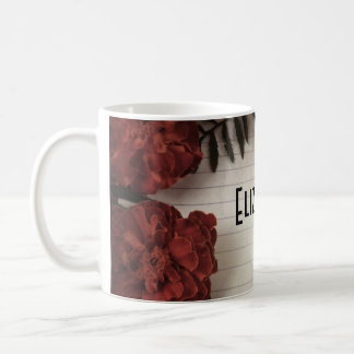 Red Flower on Lined Paper Personalized Coffee Mug