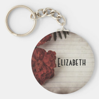 Red Flower on Lined Paper Personalized Basic Round Button Keychain