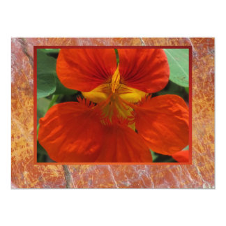 Red Flower On Marble Card