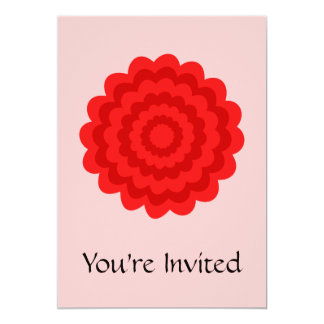 Red Flower On Pretty Pink. 5x7 Paper Invitation Card