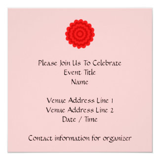 Red Flower On Pretty Pink. 5.25x5.25 Square Paper Invitation Card