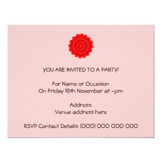 Red Flower On Pretty Pink. 4.25x5.5 Paper Invitation Card