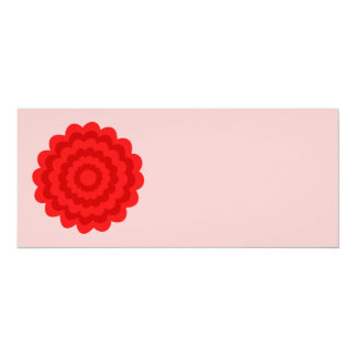 Red Flower On Pretty Pink. 4x9.25 Paper Invitation Card