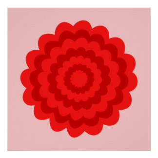 Red Flower On Pretty Pink. Poster