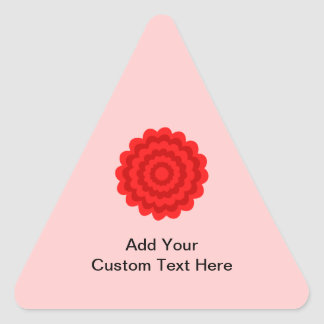 Red Flower On Pretty Pink. Triangle Sticker