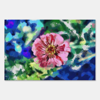 Red flower painting lawn signs