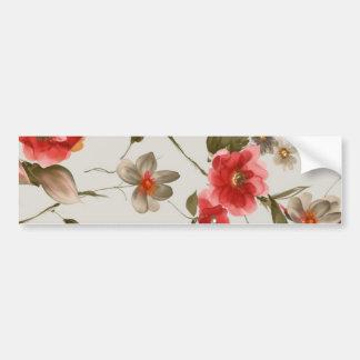 Red Flower Pattern Bumper Sticker