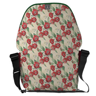 Red Flower Pattern Messenger Bag