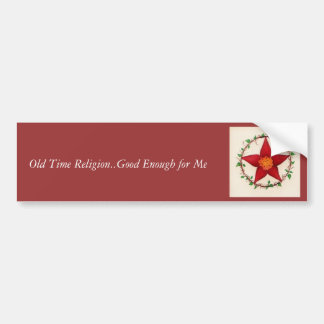 Red Flower Pentagram Car Bumper Sticker