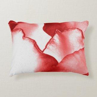 Red Flower Petals Accent Pillow