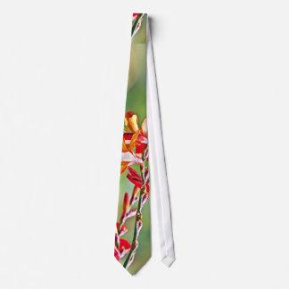 Red flower plant tie