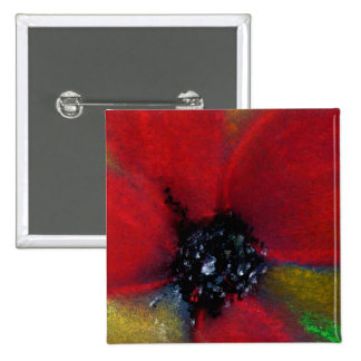 Red Flower, Poppy. 2 Inch Square Button