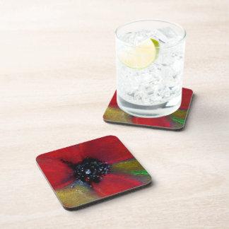 Red Flower, Poppy. Beverage Coaster