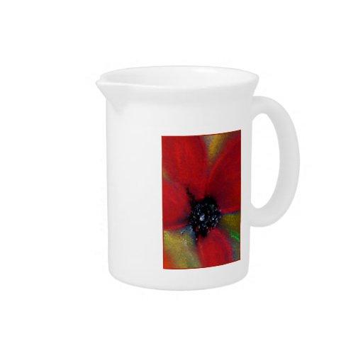 Red Flower, Poppy. Beverage Pitchers