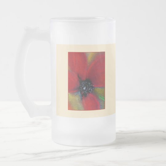 Red Flower, Poppy. Frosted Glass Beer Mug