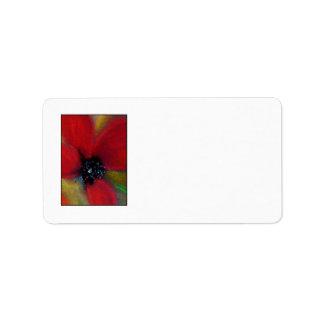Red Flower, Poppy. Address Label
